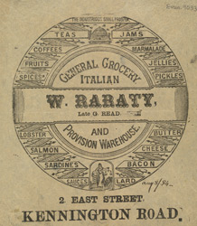 Advert for W Raraty, general grocer